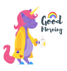 Happy unicorn drinking tea in the morning vector