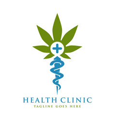 health symbol logo design and marijuana vector image