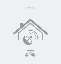 Home satellite receiver - web icon vector
