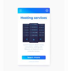hosting services mobile app ui design vector image