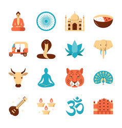 india national symbols icons set in flat style vector image