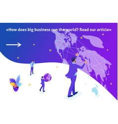 Isometric businessman running the map world vector