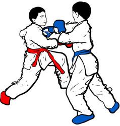 Karate kid doodle vector