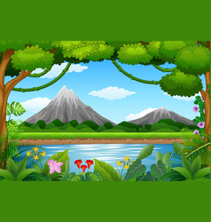 Landscape background with mountains and blue lake vector