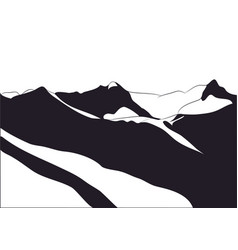 landscape mountains silhouette vector image