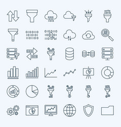 line filter funnel icons vector image