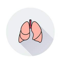 Lungs - icon on round background vector