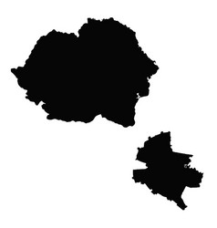 Map romania and bucharest country and capital vector