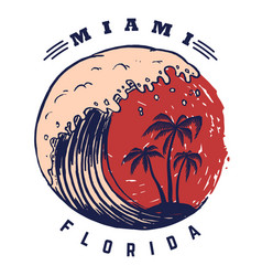 Miami poster template with lettering and palms vector