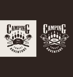 Monochrome camping season logo vector