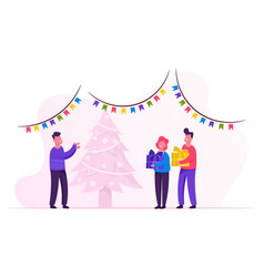 New year night father giving gifts to children vector