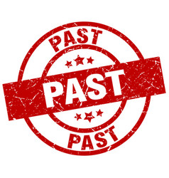 Past round red grunge stamp vector