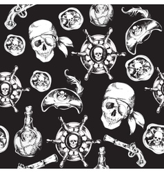 pirates black and white seamless pattern vector image