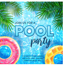 pool party invitation banner template ripple vector image
