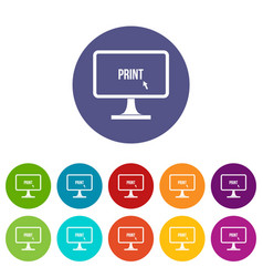 print word on a computer monitor set icons vector image