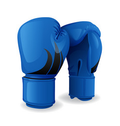 Realistic blue boxing gloves icon isolated sport vector