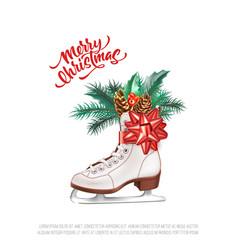 Realistic merry christmas holly leaves fir vector