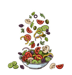 Salad background hand drawn healthy food vector