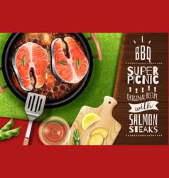 Salmon steak background vector