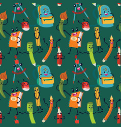 school supplies seamless pattern endless vector image