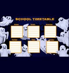 School timetable template weekly classes schedule vector