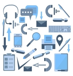 Set isolated office appliances flash drive mobile vector image