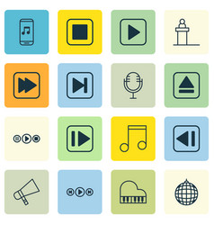 Set of 16 multimedia icons includes following vector