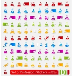 Set of professions stickers vector