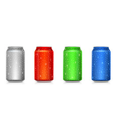Set realistic colored cans isolated on white vector