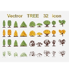 set web icons Tree and seasons vector image