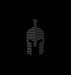 spartan helmet logo design vector image