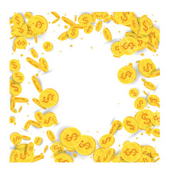 Spinning flying gold coins on white background vector