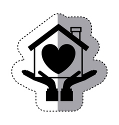 Sticker silhouette of hands holding a house with vector