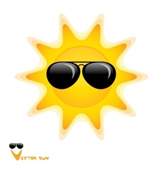 sun with black glasses art vector image