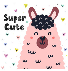 super cute card with a cute llama funny lama vector image