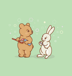 the bear and the hare are brushing their teeth vector image
