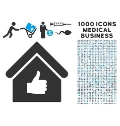 Thumb Up Building Icon with 1000 Medical Business vector image