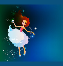 tooth fairy holding lost tooth in hand in front vector image