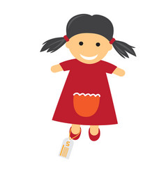 Toy with price icon of doll in dress vector