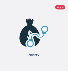 Two color bribery icon from law and justice vector