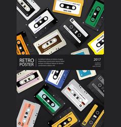 vintage retro cassette tape poster design template vector image