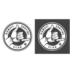 vintage surfing monochrome round emblem vector image