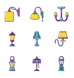 wall lamp icons set cartoon style vector image