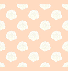 white rose on seamless orange peach background vector image