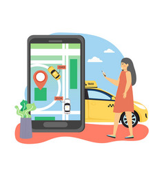 woman ordering taxi online using navigation mobile vector image