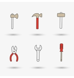 Work tools-hammer screwdriver and wrench vector image