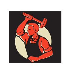 Worker With Hammer Striking Retro vector