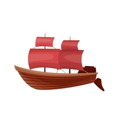 Yacht sailboat or sail boat marine cruise travel vector