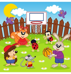 animals play basketball vector image vector image
