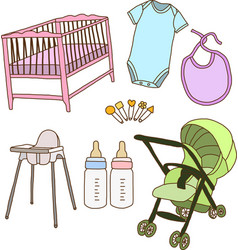 Baby accessories vector image vector image